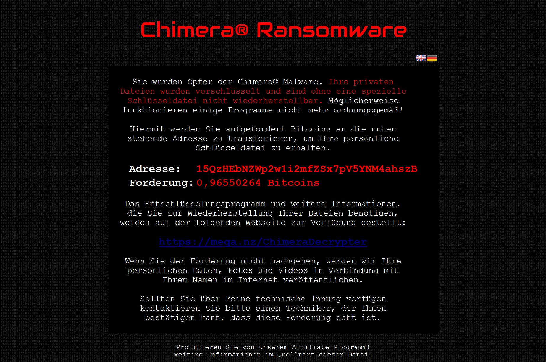 Chimera Ransomware Request