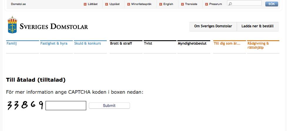 Sverige Domstolar Phishing Page