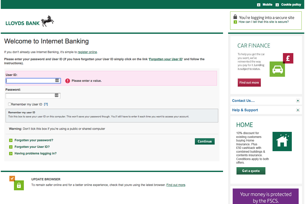 LLoyds bank phishing page